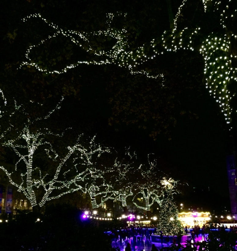 Christmas lights at the Natural History Museum